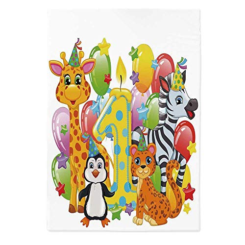 1st Birthday Decorations Polyester Tablecloth,Kids Party with Baby Safari Animals Zebra Lion Balloons Backdrop for Wedding Banquet Restaurant,60''W X 84''L
