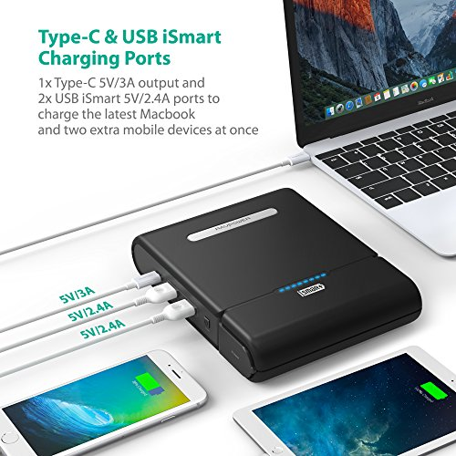 RAVPower 27000 AC transportable Charger 27000mAh 100WMax designed in 110V AC Outlet very easy electric power Bank vacation Charger Type C Port boost USB iSmart Ports 19V 16A DC feedback For Macbook Laptops Smartphones External Battery Packs