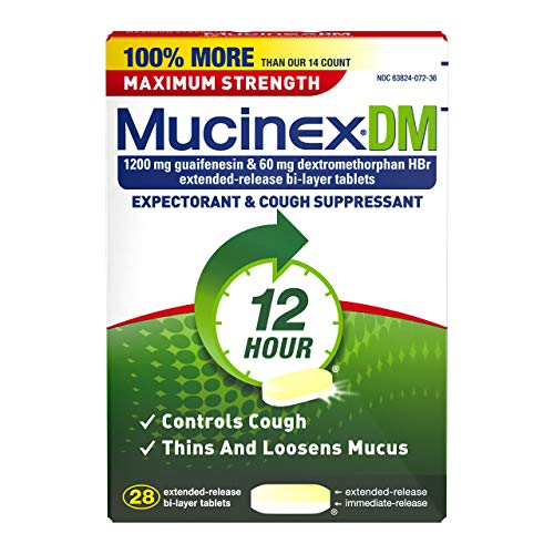 (Mucinex DM Maximum Strength 12-Hour Expectorant and Cough Suppressant Tablets, 28 Count)