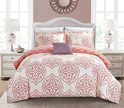 Chic Home 4 Piece Murano Reversible two-tone medallion pattern print King Duvet Cover Set Brick
