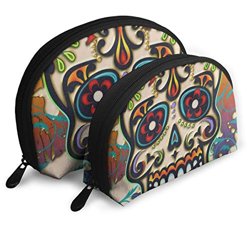 Pingshoes Makeup Bag Mexico Dia De Los Muertos Sugar Skull Portable Half Moon Beauty Bags Storage (Half Skull Makeup)