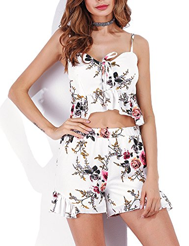Jollymoda Women's 2 Piece Outfit Summer Flower Print Ruffle Hem Crop Cami Top and Shorts (White, L)