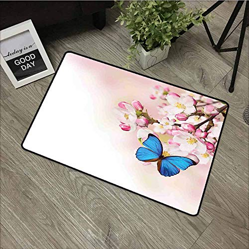- LOVEEO Custom Doormat,Modern Blue Butterfly on Spring Cherry Blossoms Japanese Flower White Pink Orchard Nature,with No-Slip Backing,35