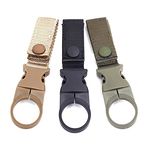 TXIN Outdoor Gear Clip Band Gear Keeper Pouch Key Chain Nylon Belt Webbing Strap Holder Quickdraw Carabiner Carrier Belt for Hiking, Pack of 3 (Three Colors)