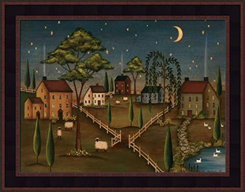 (Village Night by Kim Lewis 15x19 Saltbox Houses Moon Stars Primitive Folk Art Print Wall Décor Framed Picture)