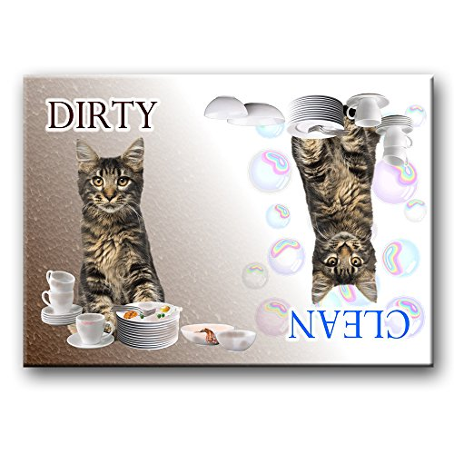 clean dirty dishwasher magnet cat - 1