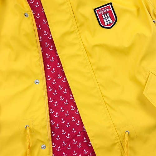 rouge jaune Travel Yellow femme Imperméable Anchor red Effet Veste Jaune Frises Bruts Style rouge AqxgwSwF4
