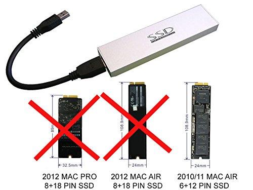 USB 3 0 enclosure for 2010/2011 MacBook Air 12+6 pin SSD (MC505 MC503 MC506  MC968 MC969 MC965)