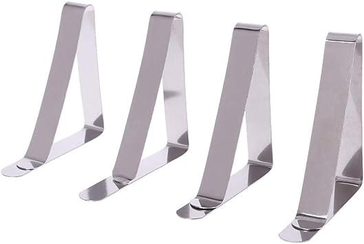 4 Pezzi in Acciaio Inox Clip di Fissaggio tovaglia Clip per Interni Esterni Picnic Lunji tovaglia con mollette Ferma-tovaglia
