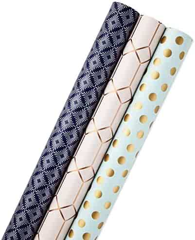 Hallmark All Occasion Reversible Wrapping Paper (Modern Metallics, Pack of 3, 120 sq. ft. ttl.) for Birthdays, Bridal Showers, Baby Showers, Christmas, Friendsmas and More