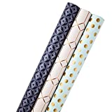 Hallmark All Occasion Reversible Wrapping Paper for Birthdays, Bridal Showers, Baby Showers, Mothers Day, and More (Modern Metallics, Pack of 3, 120 sq. ft. ttl.): more info