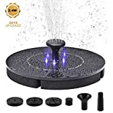 2.4W Solar Fountain Pump for Bird Bath with Led Lighting Portable Outdoor Freestanding Miniature Floating Fountain for Garden Pond and Pool
