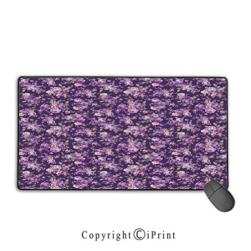 Mouse pad with Lock,House Decor,Rose Flower Pattern Feminine Nostalgic Luxurious Vintage Fabric Design Style Art,Suitable for laptops, Computers, PCs, Keyboards,9.8