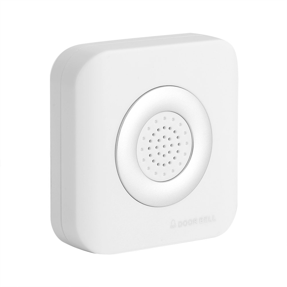 Fdit Alarme de Sonnerie de Porte de CC 12V de Sonnette de Fil Le Bureau à Maison Aucunes Batteries Requises Couleur Blanche
