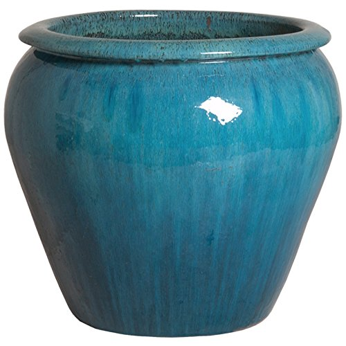 Rimmed Ceramic Planter - Turquoise Blue by Emissary
