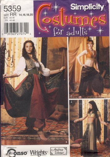 Simplicity Sewing Pattern 5359 - Use to Make - Women's Costumes - Gypsy, Belly Dancer - Sizes 14, 16, 18, -