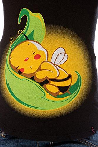 My Tummy Maternité blouse abeille sur une feuille Noir