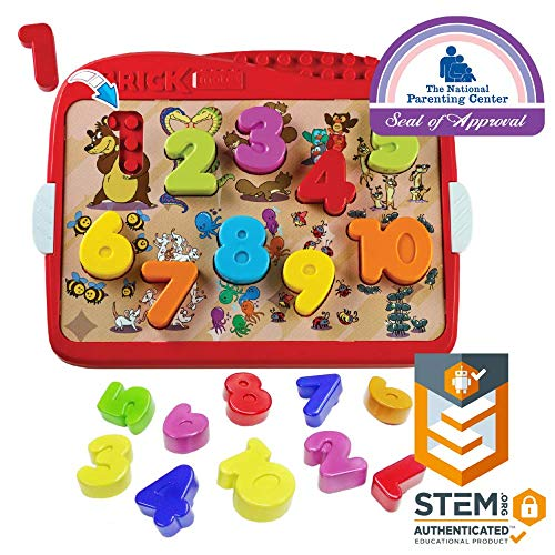 Brick Mates - Lock & Learn - Numbers - Shape Sorter - STEM Toy For Kids 3 & Up - Educational Toy - Learning Activity