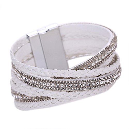 Clearance Deal! Hot Sale! Bracelet, Fitfulvan 2018 Women Bohemian Bracelet Woven Braided Handmade Wrap Cuff Magnetic Clasp Mother's Day Bracelet Bangle Jewelry (White) - White Circular Bracelets