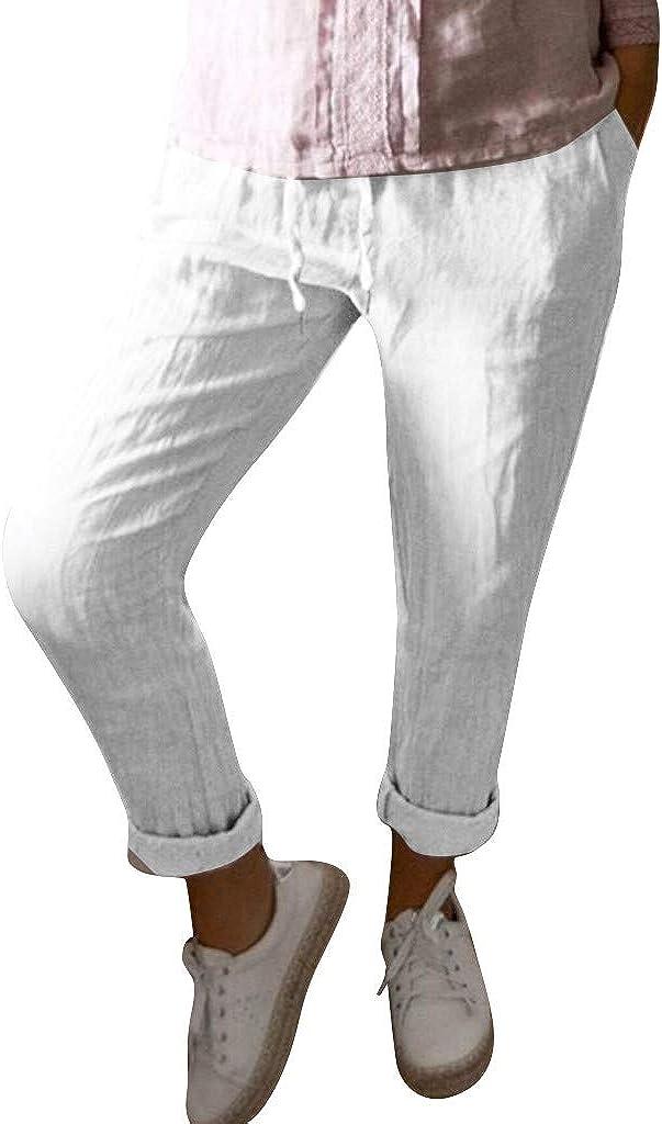 FRAUIT Pantaloni Donna Estivi Larghi Harem in Lino Pantaloni Ragazza Taglie Forti E Vita Alta Plus Size Oversize Pantaloni Tuta Cavallo Basso sotto Pantaloni Eleganti A Sigaretta con Tasche
