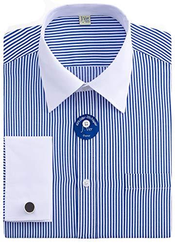 - J.VER Men's French Cuff Dress Shirts Regular Fit Long Sleeve Spead Collar Metal Cufflink - Color:Stripe 02 Blue, Size: 16.5