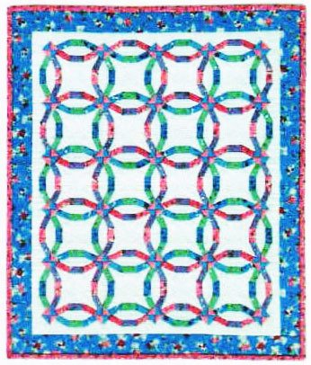 (Mini Wedding Ring Quilt - Foundation Paper Piecing Pattern -21 1/4