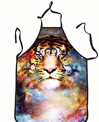 chanrancase tailored apron magical space tiger multicolor computer graph Children, unisex kitchen apron, adjustable neck for barbecue 26.6x27.6+10.2(neck) INCH