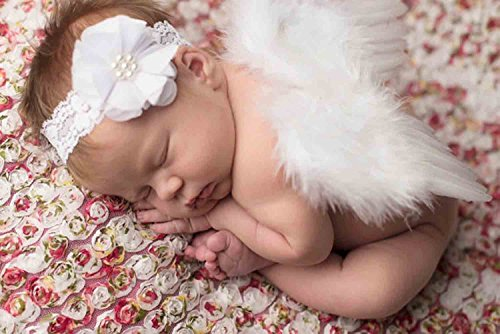 Rebecca online Newborn Baby White Feather Angel Wings, Halo Set (White with Flower Halo) (Angel Halo Fancy Dress)