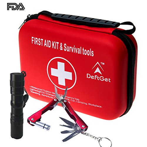 Compact First Aid Kit – Mini Survival tools box – Waterproof Outdoor Medical Emergency bag Lightweight for Emergencies at Home Car Camping Workplace Traveling Adventures Sports Hiking by deftget