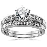 10k White Gold Created White Sapphire and Diamond Bridal Set Ring, Size 7