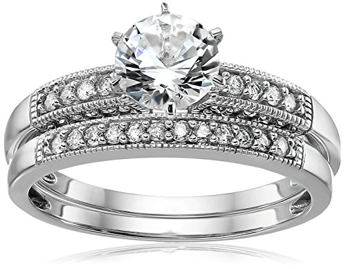 10k White Gold Created White Sapphire and Diamond Bridal Ring Set (1/10 cttw, I-J Color, I2-I3 Clarity), Size ()