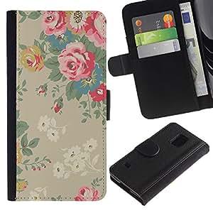 iBinBang / Flip Funda de Cuero Case Cover - Bush Papel pintado floral de la vendimia - Samsung Galaxy S5 V SM-G900