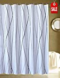 CHAYOTE HOME Fabric Shower Curtain White Black, Waterproof Mold and Mildew Resistant, Machine Washable (vertical wave lines black, 72' x 78')