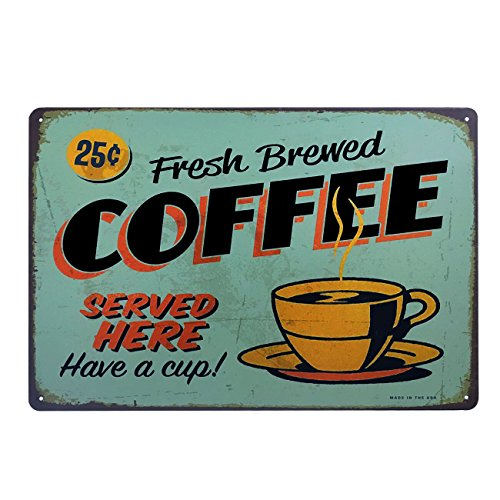 Pub Sign Shop - HUABEI Fresh Brewed Coffee Served Here Have a Cup Vintage Distressed Tin Sign Metal Plague Wall Décor Poster Home Cafe Pub Art Bakery Cake Shop Poster 12X8 Inch