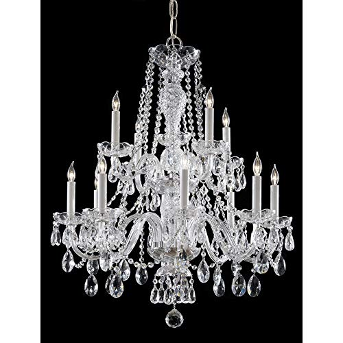 Crystorama 5047-CH-CL-MWP Traditional 12 Light Chandelier from Traditional Crystal collection in Chrome, Pol. Nckl.finish, -