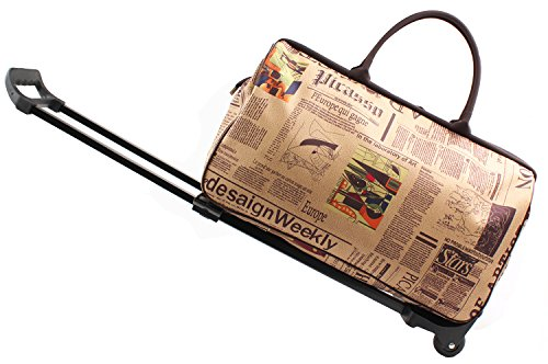 - SENLI 20inch Luggage Rolling Duffle Trolley Travel Bag Tote Carry-On with Newspaper Printed for Women Short Term Trips Weekend Excursion