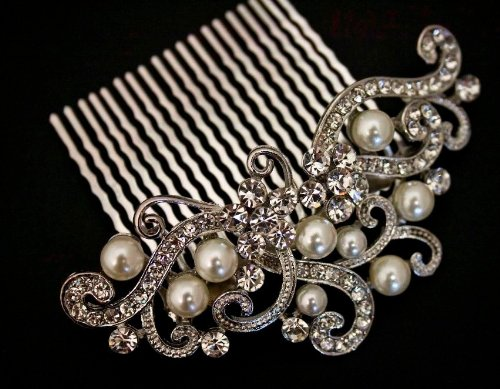 new fashion beautiful Silver Color bridal wedding hair comb pearl and crystal 5