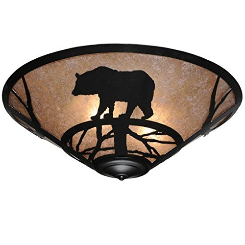 Meyda Tiffany Custom Lighting 110548 Bear on the Loose 3-Light CFL Flush Mount, Black Finish with Silver Mica Shade