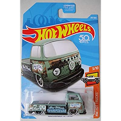 Hot Wheels HOT Trucks 3/10, Blue Volkswagen T2 Pickup 297/365 50TH Anniversary Card: Toys & Games