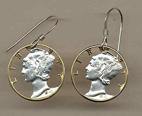 Old Silver Mercury dime - Beautifully Hand Cut out & 2-toned(Uniquely Hand done) Gold on Silver coin - Earrings for her for girls For teens women men