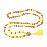 Buddhist Beads 108+1 Rudraksha Yellow Jade Necklace Yoga tibetan jewelry