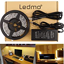 LEDMO Flexible LED Strip Light Kit, SMD2835 300 Leds, 16.4ft/5m,Warm White,Non-Waterproof LED Light Strip+a 12V 5A (60W) Power Supply/adapter