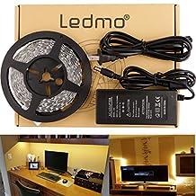 LEDMO Flexible LED Strip Light Kit, SMD2835 300 Leds, 16.4ft/5m,Warm White,Non-Waterproof LED Light Strip+a 12V 5A (60W) Power Supply/adapter