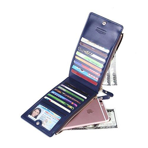 Noedy Womens Multi Credit Card Case Money Organizer Wallet with Double-zip Pocket Dark Blue