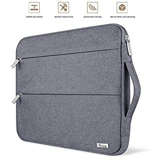 """Voova 15.6 14 15 Inch Laptop Sleeve Case with Handle Waterproof Protective Cover Bag Compatible with MacBook Pro 15.4"""", Surface Book 2 15"""", Asus Acer Hp Chromebook with Pocket, Gray"""