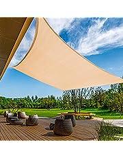 مظلة شمسية شراعية من كايجيتال من قماش تظليل باللون البيج 9.8 قدم × 16 قدم - شديدة التحمل ومقاومة للاشعة فوق البنفسجية من الدرجة التجارية - مناسبة للمراب الخارجي 6.5 × 9.8 انش