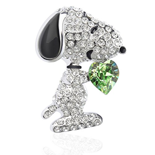 "Tagoo Noble Peacock Bird Swan Vintage Monkey Seahorse Dolphin Snoopy Animal Brooches Pins Corsages Scarf Clips in Crystal Unisex Women&Men (Snoopy Design Green Heart 1.26"" H)"