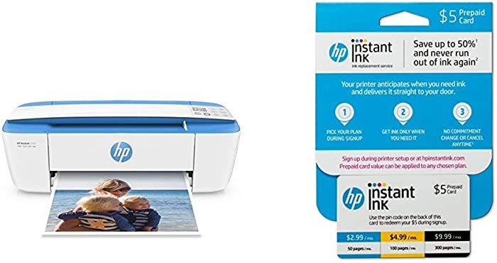 HP DeskJet 3755 All-in-One Compact Printer with Wireless Printing - Blue Accent (J9V90A) with Instant Ink Prepaid Card for 50 100 300 Page per Month Plans (3HZ65AN)