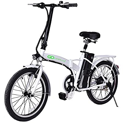 "Goplus Folding Electric Bike 20"" 250W Sport Mountain Bicycle 6-Speed Gear 36V Lithium Battery (White)"