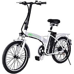 "Goplus 20"" 250W Folding Electric Bike Sport Mountain Bicycle 36V Lithium Battery (White)"